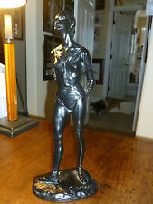 Vintage Black Resin Ballet Dancer Statue-Tony Cipriano-Ballerina - Verdigis wash