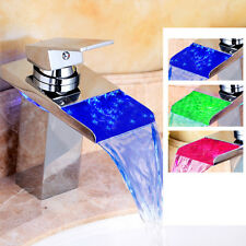 Mixer Tap Glass Waterfall Bathroom Bathtub 3 Color LED Basin Sink Modern Faucet