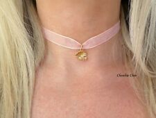 Gold Tone Sea Shell Pearl Charm Peach Chocker Mermaid Necklace Choochie Choo