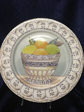 "AMERICAN ATELIER FRUIT TOILE DINNER PLATE 10 1/2"" FRUIT IN BOWL LIME LEMON"