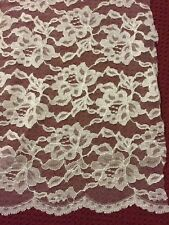 """White Floral Lace Scalloped Edge Fabric Wedding Curtain Craft  53"""" width 1 Yard"""