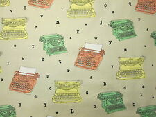 Typewriters Letters Black Type Office Supplies Cream Cotton Fabric BTHY