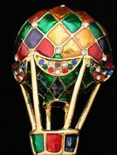 RHINESTONE GREEN RED PURPLE ENAMEL FLYING HOT AIR BALLOON PIN BROOCH JEWELRY 3D