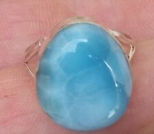 fine jewelry blue LARIMAR 925 sterling silver RING size 8 (AAA-41)