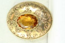 VICTORIAN ANTIQUE GOLD OVER STERLING SILVER CANNETILLE CITRINE PIN