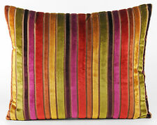 "New Designers Velvet Fabric Cushion Covers 20"" x 16"" Stripey Multicolour"