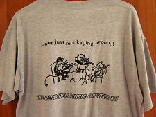 CHAMBER MUSIC CONNECTION med T shirt monkey playing violin logo Worthington OHIO