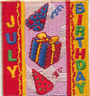 Scout JULY BIRTHDAY Fun Patches Crests Badges GIRL BOY GUIDES Month Party