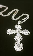 """Women's Long Silver Necklace With Cross Design Round Shape Pendant 17"""""""