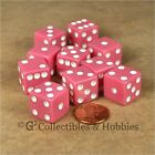NEW 10 Pink w/ White D6 6 Sided RPG Bunco Game Dice Set 16mm 5/8 inch