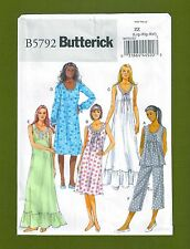 NEW! Butterick Sewing Pattern 5792~Nightgowns, Top, & Pants (Sizes L, XL, XXL)