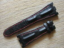 Black Horn Back Leather Strap Band RED Stich 28mm/29mm For AP ROO 42mm Watch