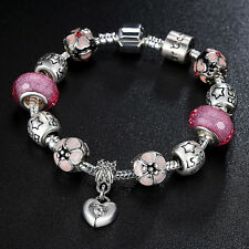 Beauty Pink Beads Bracelets With European Charm Pink Crystal Fit Women Christmas