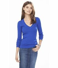 EXPRESS SMALL TILE ROYAL BLUE SWEATER Cotton Rayon V-Neck Long Sleeve S