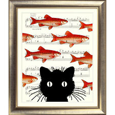 ART PRINT ORIGINAL VINTAGE MUSIC SHEET Page CAT FISH Old picture Poster Retro