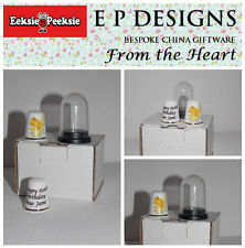 BN Personalised thimble, floral china thimble with display case daffodil design