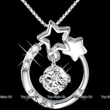 Star Moon & Diamond Circle Infinity Necklace Pendant Silver Gifts for Her Mum C3