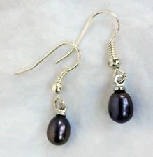 Black Japanese Cultured Pearl Drop Earrings