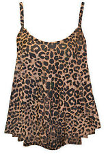 Womens Cami Swing Top Sleeveless Vest lot Strap Flared Plain & Printed top new
