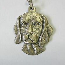Silver Tone & Pewter Keyring Spaniel Dog Key Ring With Chain What A Great Gift
