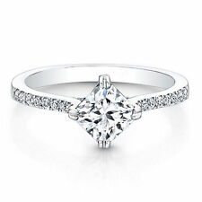 0.76Ct Diamond Engagement Ring 14k White Gold Size 7 VVS1/D