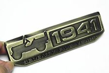 1X 1941 Five Years Car Trunk Bronze Sticker Emblem For Jeep Wrangler Willys 75th