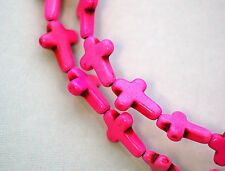 1 Strand, 24 beads Small Stone Cross Beads in HOT PINK how0136