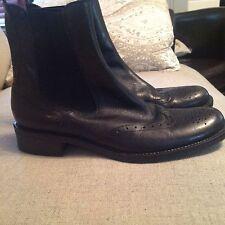 Lavorazione artigiana black ankle boots wing tip style 40 9 9.5 FREE SHIPPING