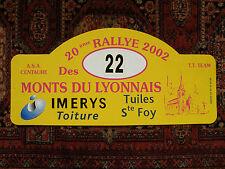 Plaque Rallye Monts du Lyonnais