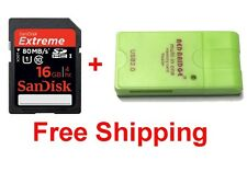 SanDisk Extreme Plus 16 GB SDHC Class 10 UHS-1 Memory Card 533X 80MB/s & Reader