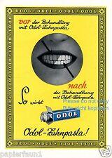 Odol vorher nachher XL Reklame von 1928 weisse Zähne Behandlung Zahnbeleg Zahn