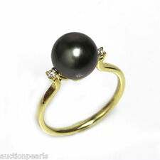 Tahitian Diamond Pearl Ring 18KT Gold 10MM AAA flawless  Black