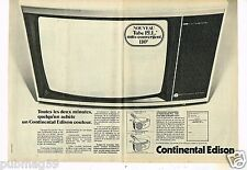 Publicité advertising 1976 (2 pages) Téléviseur Continental Edison Couleur