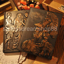 Vintage Retro Journal Diary Notebook Leather Emboss Hard Cover Blank Paper Pages