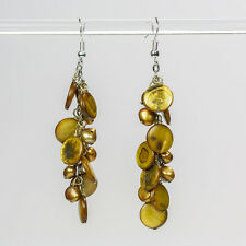 Brown Pearl e Shell Orecchini naturale handmade Pendenti GOCCIA Orecchini cluster