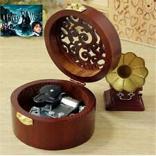 CIRCLE WOOD SILVER WIND UP MUSIC BOX : Prologue Harry Potter HedwigsTheme