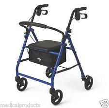 Medline Rollator Rolling Walker with Medical Curved Back Soft Seat, Storage Bag