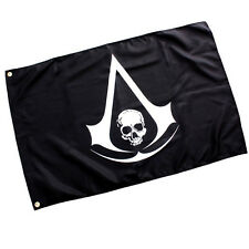 Hot Game Assassins Creed 4 Black Drapeau Flag Pirate Skull Logo Cosplay Boy Gift