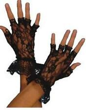 BLACK LACE Ladies Stretch Madonna Fingerless Gloves PROM / GOTH / Fancy Dress
