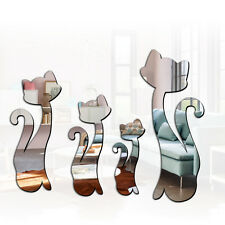 4 Pcs Mirror Cat Removable Decal Vinyl Art Wall Sticker Home Decor Silver