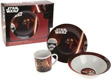 Starwars Breakfast 3 Piece Porcelain Plate Bowl Mug Children Kids Dinner Set