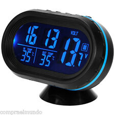 Digital 12V 24V Car Voltage Alarm Temperature Thermometer Clock LCD Monitor Batt