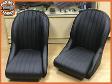 Pair BB Vintage Classic Retro Car Bucket Seats Rounded Back + Universal Runners