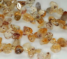 CITRINE WITH GOETHITE GEMSTONE INCLUSIONS CHIPS PEBBLE SLICE LOOSE BEADS 7-8""