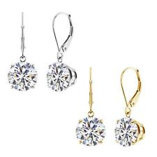 14k White or Yellow CZ Leverback Dangle Earrings (1.00 cttw to 8.00 cttw)