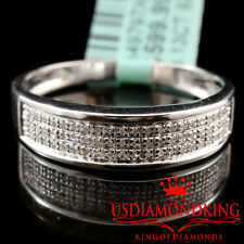 NEW MEN'S 14K WHITE GOLD FINISH GENUINE REAL NATURAL DIAMOND RING WEDDING BAND