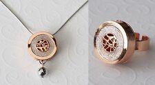 Neu 43cm+5cm HALSKETTE + RING Farbe silber/rosegold SCHMUCKSET Ohrringe COLLIER