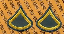 US Army Enlisted E-3 PFC Private First Class A uniform patch set c/e N