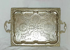 Beautiful Very Large Heavy Vintage Moroccan Silver Plated Tray (Length - 55 cm)