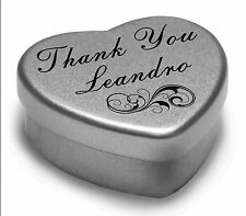 Say Thank You Leandro With A Mini Heart Tin Gift Present with Chocolates
